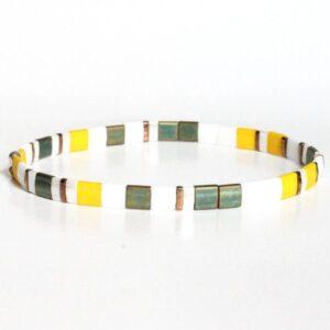 Bracelet perle homme tendance Miyuki fin multicolore jaune 2
