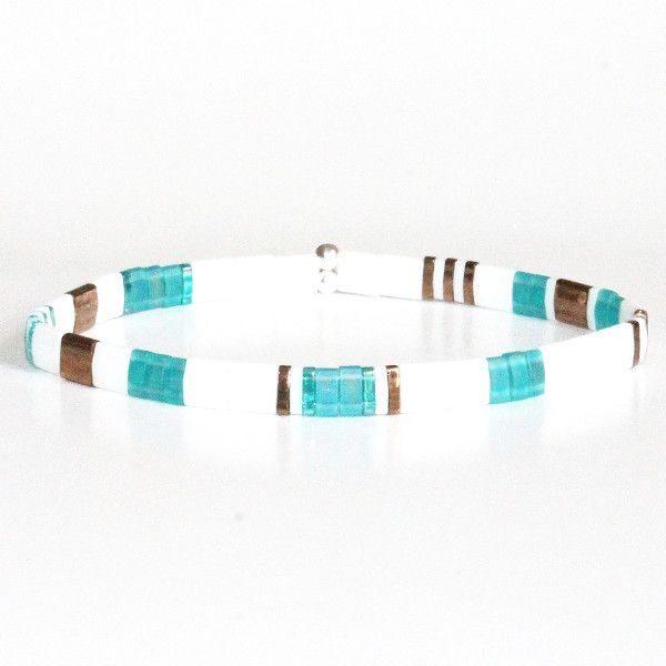 Bracelet fantaisie femme perle Miyuki coloré multicolore lumineux brillant blanc turquoise 1