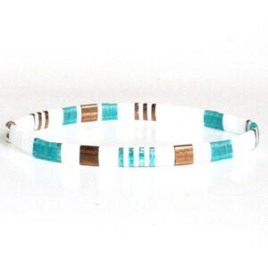 Bracelet fantaisie femme perle Miyuki coloré multicolore lumineux brillant blanc turquoise 2