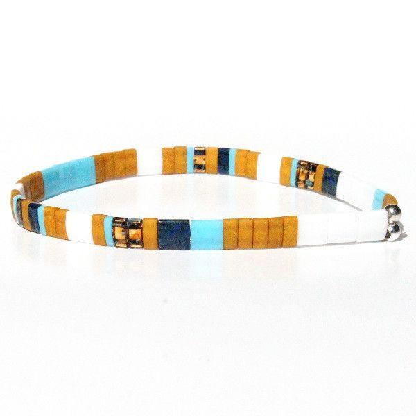 Bracelet homme tendance 2021 perles jaune moutarde coloré Miyuki 1