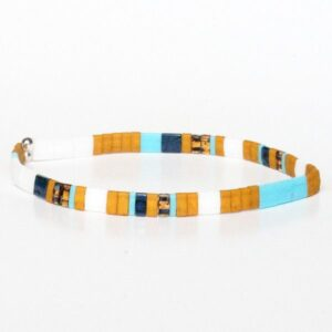 Bracelet homme tendance 2021 perles jaune moutarde coloré Miyuki 2