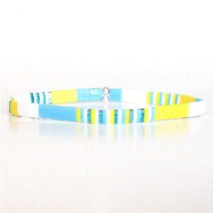 Bracelet perle tendance été miyuki perles colorées plates verre japonais jaune turquoise 1