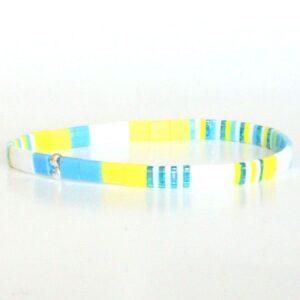 Bracelet perle tendance été miyuki perles colorées plates verre japonais jaune turquoise 2