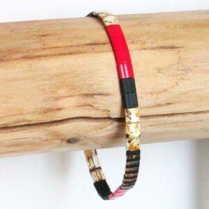 bracelet fin perle miyuki femme homme coloré multicolore lumineux brillant verre japonais rouge 2