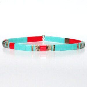 Bracelet fantaisie tendance pour femme en perles Miyuki colorées verre japonais vert turquoise rouge 1