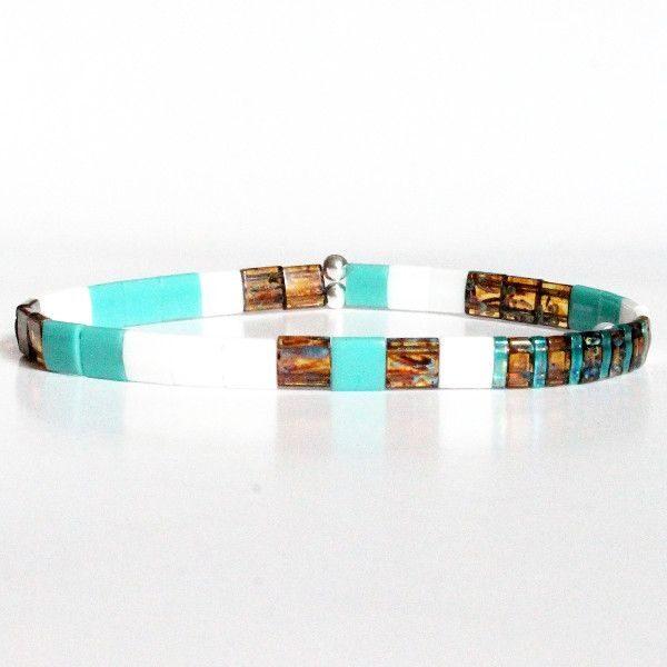 Bracelet tendance pour femme en perles Miyuki Tila verre du japon colorée plate carrée vert turquoise lumineux 1