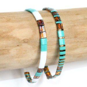 Bracelet tendance pour femme en perles Miyuki Tila verre du japon colorée plate carrée vert turquoise lumineux 2
