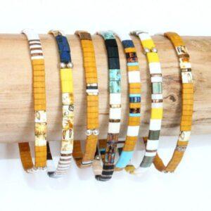 Bracelet perle homme femme miyuki tendance perles colorées carrées plates verre japonais