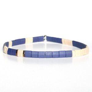 bracelet perles homme coloré fin Miyuki tendance perle carré plate bleu1