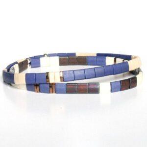 bracelet perles homme coloré fin Miyuki tendance perle carré plate bleu 2