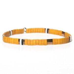 Bracelet homme perles jaune moutarde tendance Miyuki verre japonais coloré 1