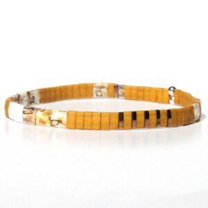 Bracelet perle homme Miyuki jaune moutarde verre du Japon coloré 1
