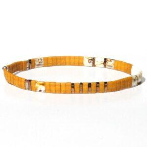 Bracelet perle homme Miyuki jaune moutarde verre du Japon coloré 2