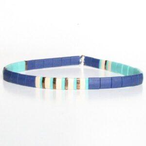 Bracelet perles homme surfeur miyuki tendance 2021 perles colorées plates turquoise bleu 1