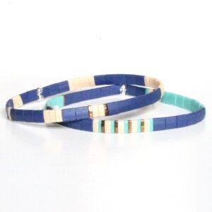 Bracelet perles homme style surfeur tendance 2021 perle colorée plate turquoise bleu 2