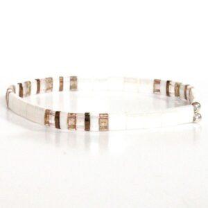 Bracelet perles Miyuki verre du japon blanc nacré lumineux colorées carrées plates 2