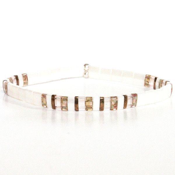 Bracelet perles Miyuki verre du japon blanc nacré lumineux colorées carrées plates 1