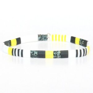 Bracelet perles colorées tendance jaune fluo flashy noir multicolore Miyuki verre Japon New York 1