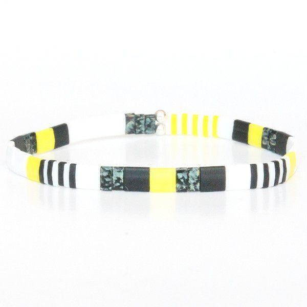 Bracelet perles colorées tendance jaune fluo flashy noir multicolore Miyuki verre Japon New York 1