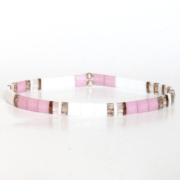 Bracelet fin en perles japonaise miyuki perle carrée plate coloré rose blanc nacré 1