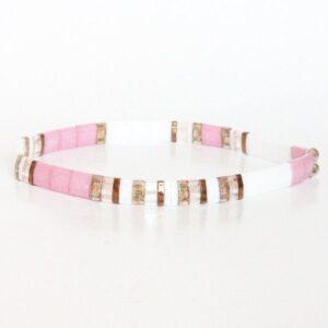 Bracelet fin en perles japonaise miyuki perle carrée plate coloré rose blanc nacré 2