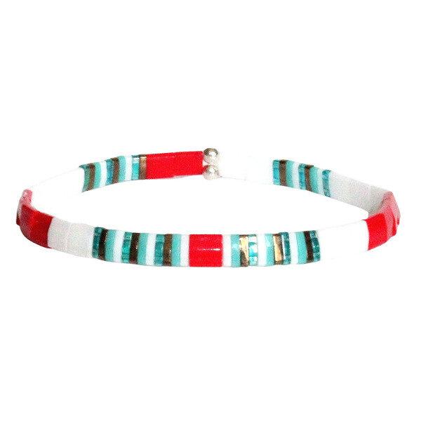 Bracelet perles femme tendance Miyuki perle fine plate colorée lumineuse en verre du Japon rouge turquoise blanc 1