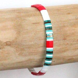 Bracelet perles femme tendance Miyuki perle fine plate colorée lumineuse en verre du Japon rouge turquoise blanc 2