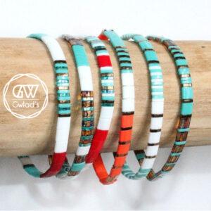 Bracelet perles femme tendance Miyuki perle fine plate colorée lumineuse en verre du Japon rouge turquoise blanc 4