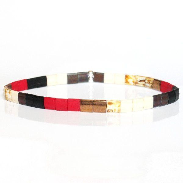Bijoux pour homme tendance bracelet perle coloré été noir mate rouge brique 1