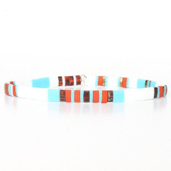 Bijoux pour homme tendance bracelet perles été orange brique turquoise coloré 1