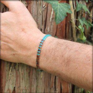 Bracelet tendance homme femme perle plate coloré miyuki verre japonais turquoise mate 2