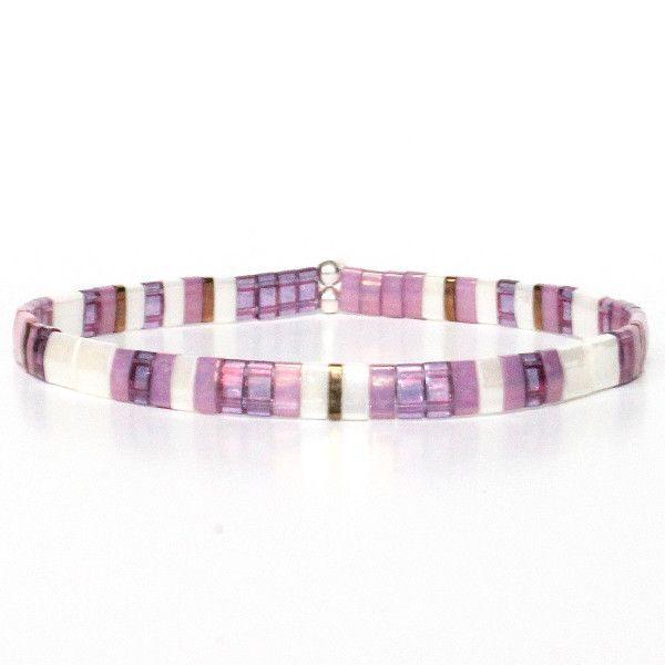 Bracelet fantaisie femme bijoux perle Miyuki coloré brillant blanc violet 1