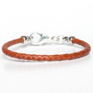 Bracelet homme cuir fermoir mousqueton cuir tressé marron 2