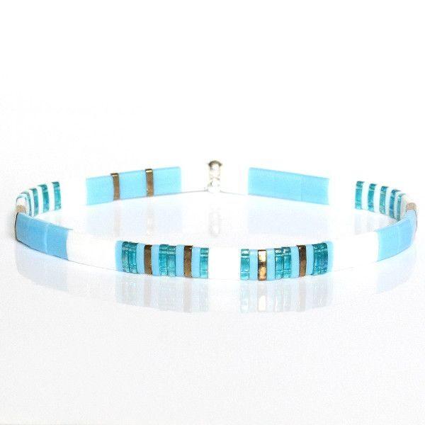 Bracelet perles femme été fantaisie turquoise blanche coloré miyuki 1