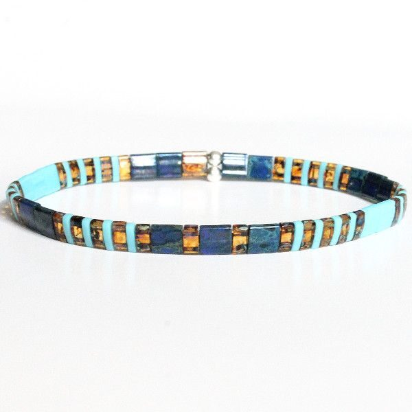 Bracelet perle homme coloré tendance perles bleu marine turquoise plates 1