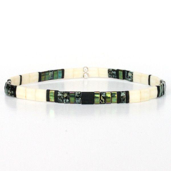 Bracelet perle homme tendance été perles plates colorées carrées kaki 1