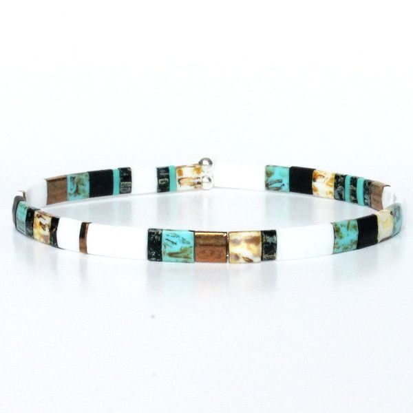 Bracelet perle homme tendance perles plates multicolore coloré noir blanc turquoise 1