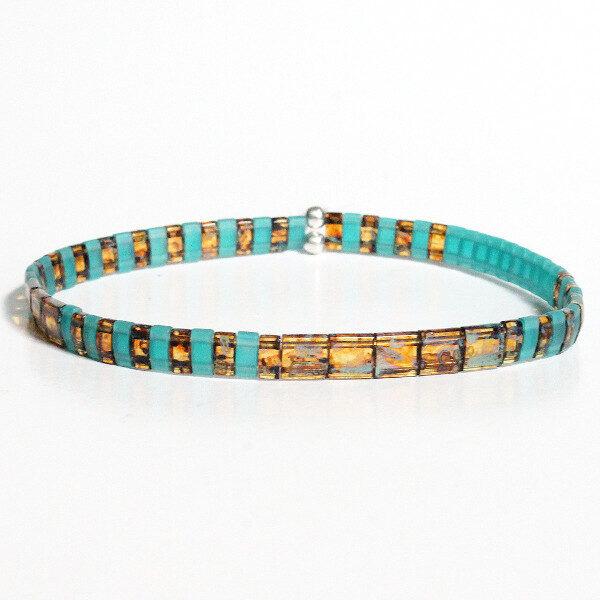 Bracelet tendance homme femme perle plate coloré miyuki verre japonais turquoise mate 1