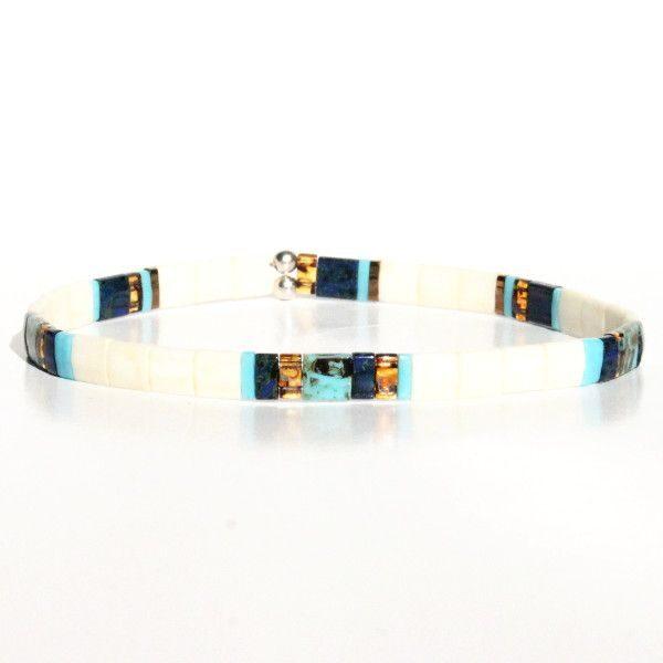Bracelet fin tendance homme perles colorées multicolore fil élastique verre du Japon 1