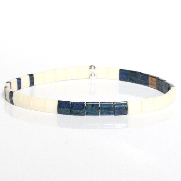 bracelet homme perle tendance bleu marine écru perles colorées 1