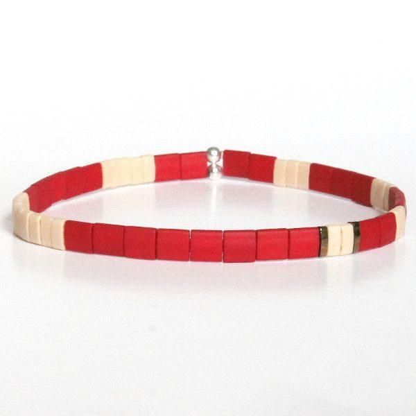 bracelet tendance homme fin en perle plate rouge brique écru 1