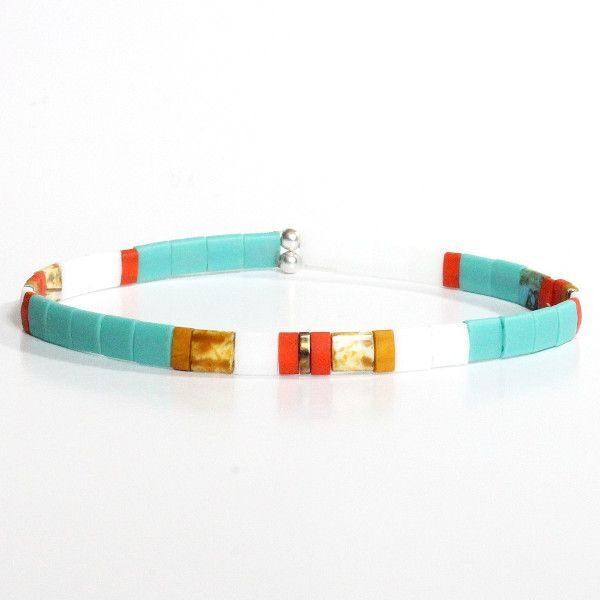 bracelet perle homme tendance coloré multicolore verre du Japon Tila turquoise 1