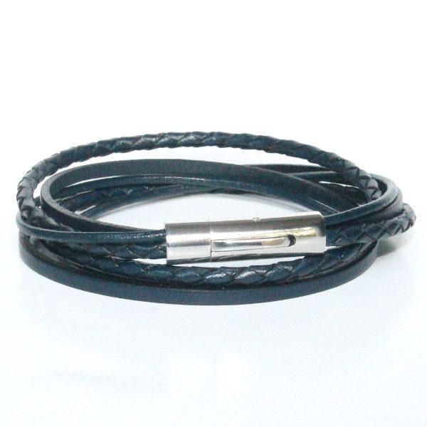 Bracelet acier homme multi liens double tour bleu marine 1