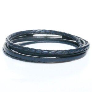 Bracelet acier homme multi liens double tour bleu marine 2